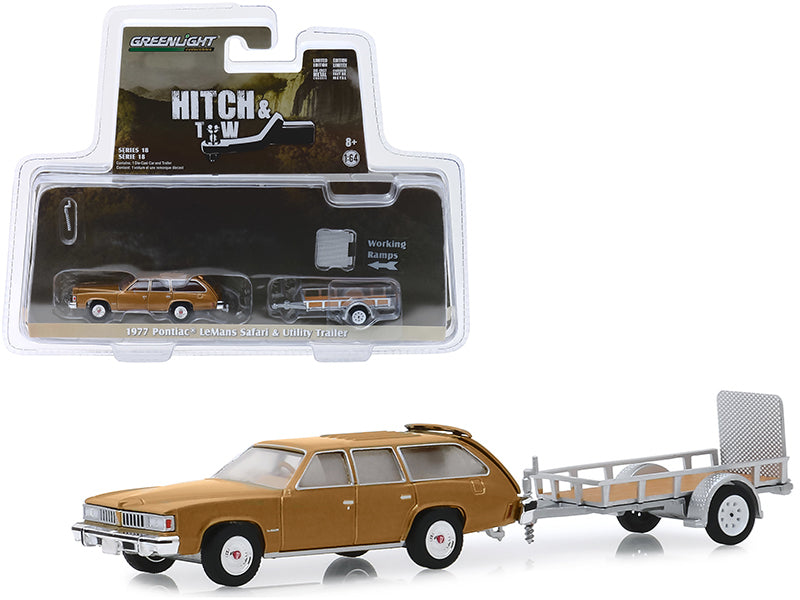 "1977 Pontiac LeMans Safari Gold & Utility Trailer ""Hitch & Tow"" Series 18 1/64 Diecast Model Car - Greenlight - 32180A"