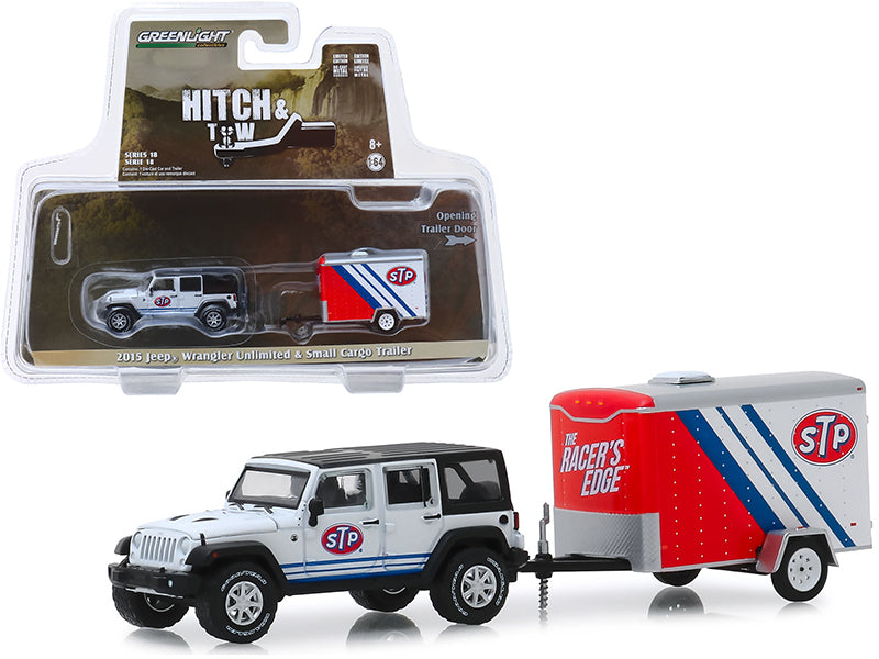 "2015 Jeep Wrangler Unlimited ""STP"" White w/ Black Top & ""STP"" Small Cargo Trailer ""Hitch & Tow"" Series 18 1/64 Diecast Model Car - Greenlight - 32180B"