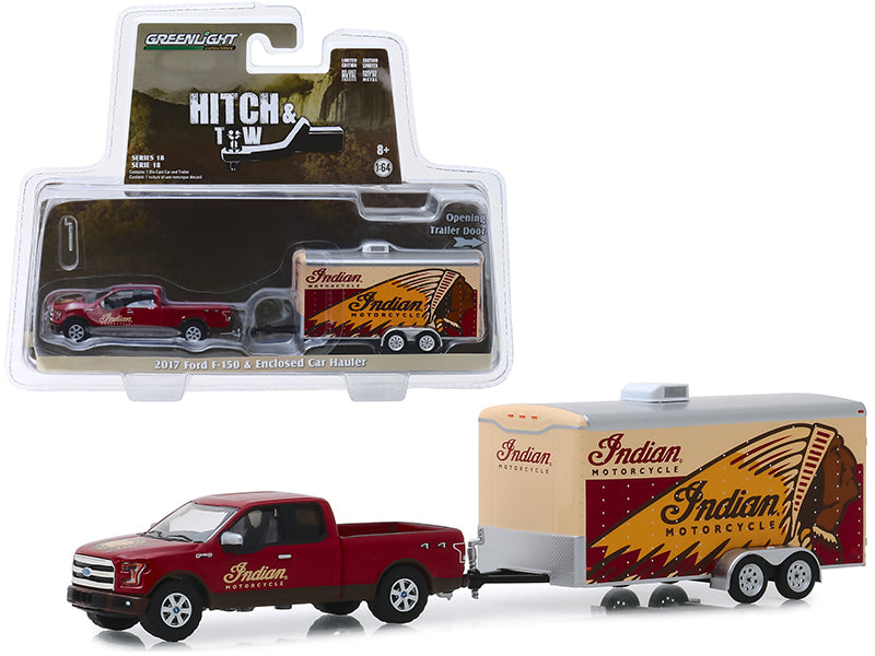"2017 Ford F-150 4x4 Pickup Truck Red ""Indian Motorcycle"" & ""Indian Motorcycle"" Enclosed Car Hauler ""Hitch & Tow"" Series 18 1/64 Diecast Model Car - Greenlight - 32180C"