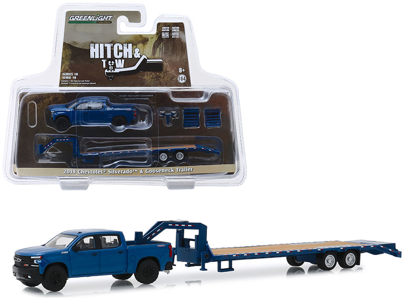 "2019 Chevrolet Silverado Pickup Truck Dark Blue ""Trail Boss"" & Gooseneck Trailer ""Hitch & Tow"" Series 18 1/64 Diecast Model Car - Greenlight - 32180D"