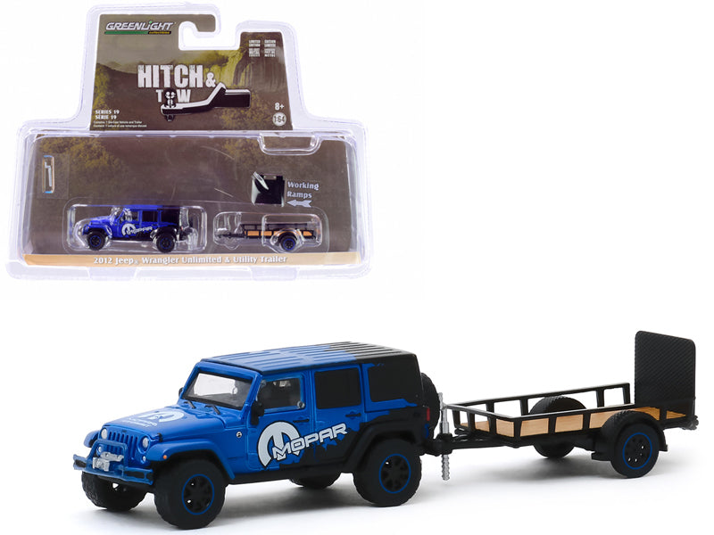 "2012 Jeep Wrangler Unlimited ""MOPAR"" Off-Road Edition Dark Blue and Black and Utility Trailer ""Hitch & Tow"" Series 19 Diecast 1:64 Model - Greenlight - 32190B"