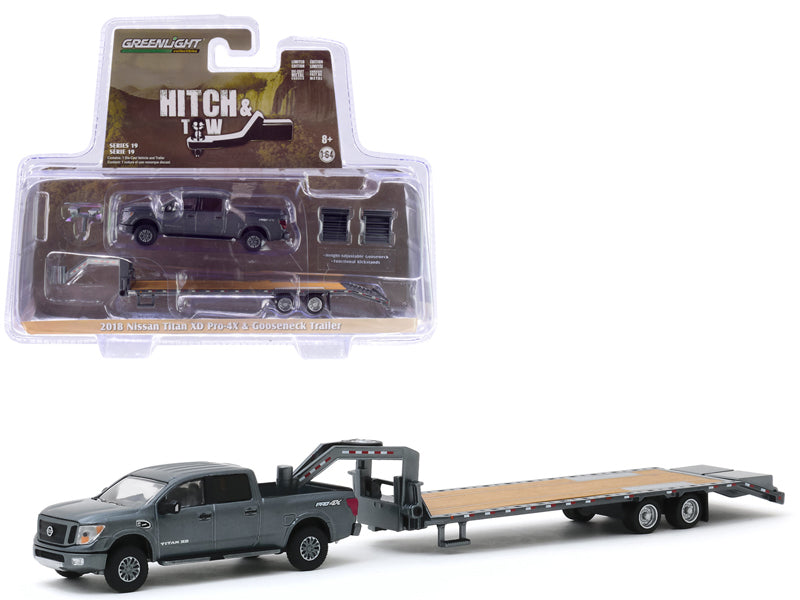 "2018 Nissan Titan XD Pro-4X Pickup Truck Dark Gray Metallic and Gooseneck Trailer ""Hitch & Tow"" Series 19 Diecast 1:64 Model - Greenlight - 32190C"