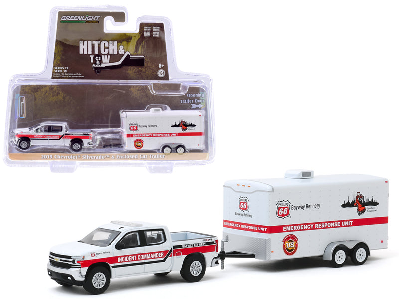 "2019 Chevrolet Silverado Pickup Truck White and ""Phillips 66 Bayway Refinery"" Emergency Response Unit Enclosed Car Trailer White ""Hitch & Tow"" Series 19 Diecast 1:64 Model - Greenlight - 32190D"