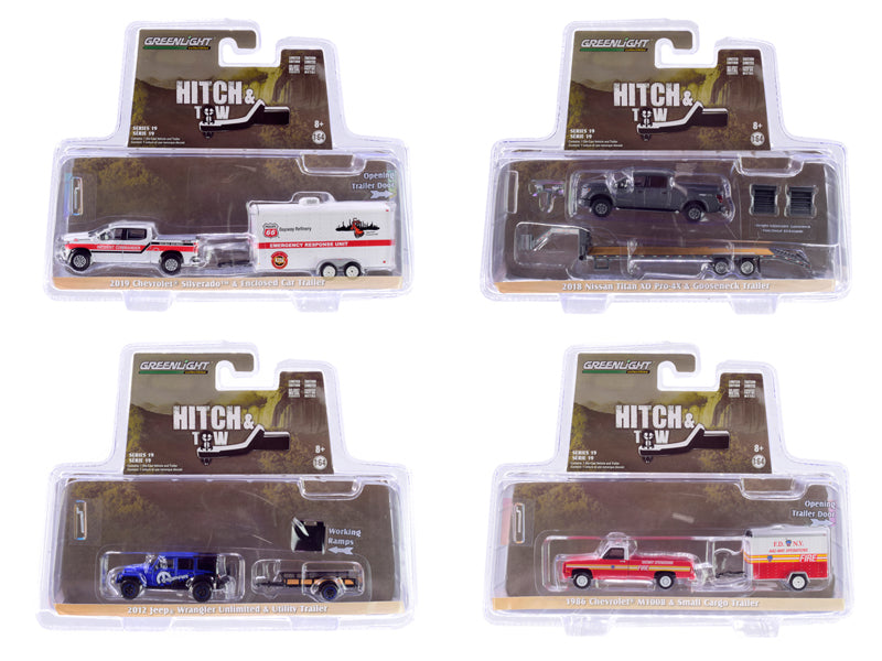 """Hitch & Tow"" Series 19, Set of 4 pieces 1/64 Diecast Model Cars - Greenlight - 32190SET"