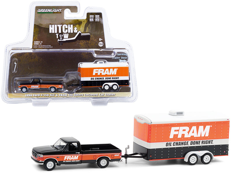 "1994 Ford F-150 XLT Pickup Truck Black and Orange with Enclosed Car Hauler ""FRAM Oil Filters"" ""Hitch & Tow"" Series 21 Diecast 1:64 Model - Greenlight - 32210B"
