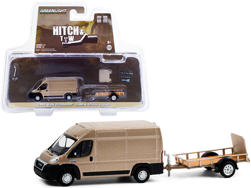 "2019 Ram ProMaster 2500 Cargo High Roof Van Brown Metallic with Flatbed Utility Trailer ""Hitch & Tow"" Series 21 Diecast 1:64 Model Car - Greenlight - 32210C"