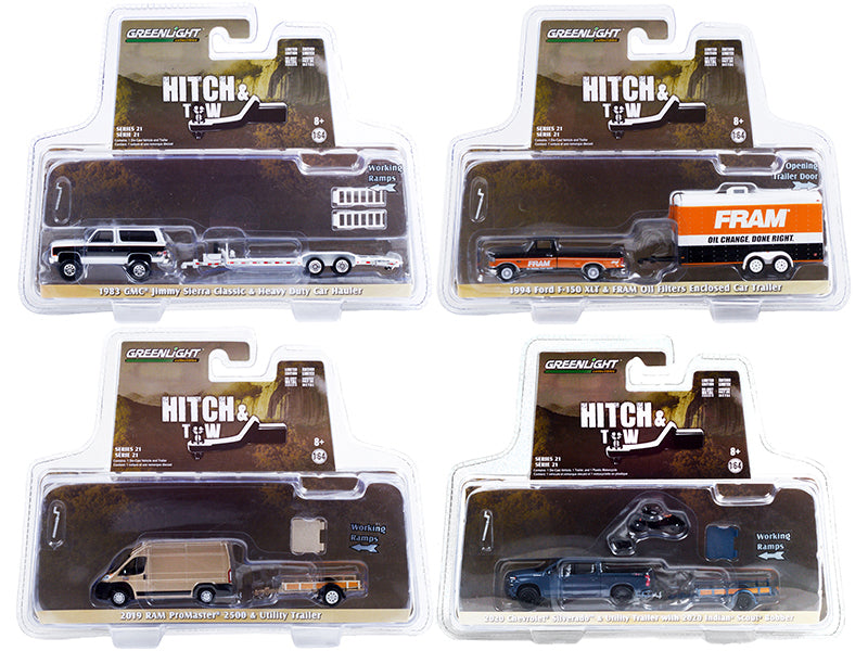 """Hitch & Tow"" Set of 4 pieces Series 21 Diecast 1:64 Model Cars - Greenlight - 32210SET"