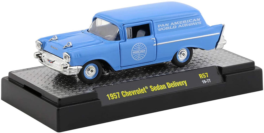 1957 Chevy Sedan Delivery Auto Trucks Release 57 Pan American World Airways (Pan Am) in Display Cases 1:64 Diecast Model - M2 Machine 32500-57