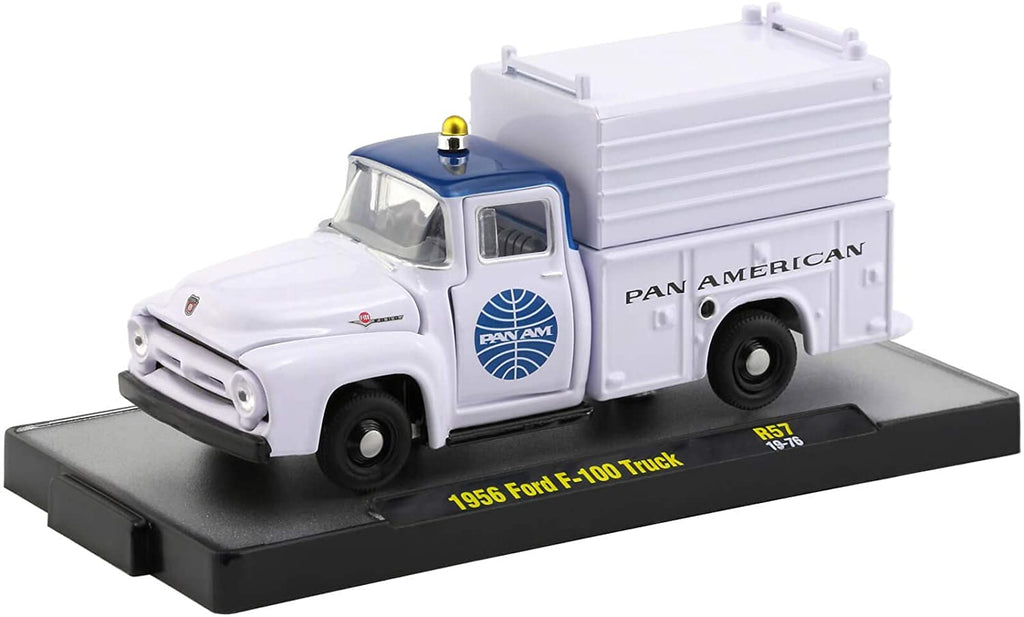1956 Ford F-100 Pickup Truck Auto Trucks Release 57 Pan American World Airways (Pan Am) in Display Cases 1:64 Diecast Model - M2 Machine 32500-57
