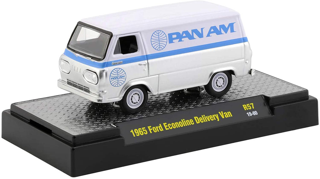 1965 Ford Econoline Delivery Van Auto Trucks Release 57 Pan American World Airways (Pan Am) in Display Cases 1:64 Diecast Model - M2 Machine 32500-57