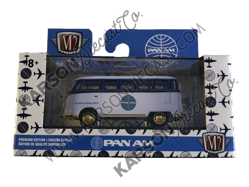CHASE 1958 Volkswagen Microbus 15 Window Auto Trucks Release 57 Pan American World Airways (Pan Am) in Display Cases 1:64 Diecast Model - M2 Machine 32500-57