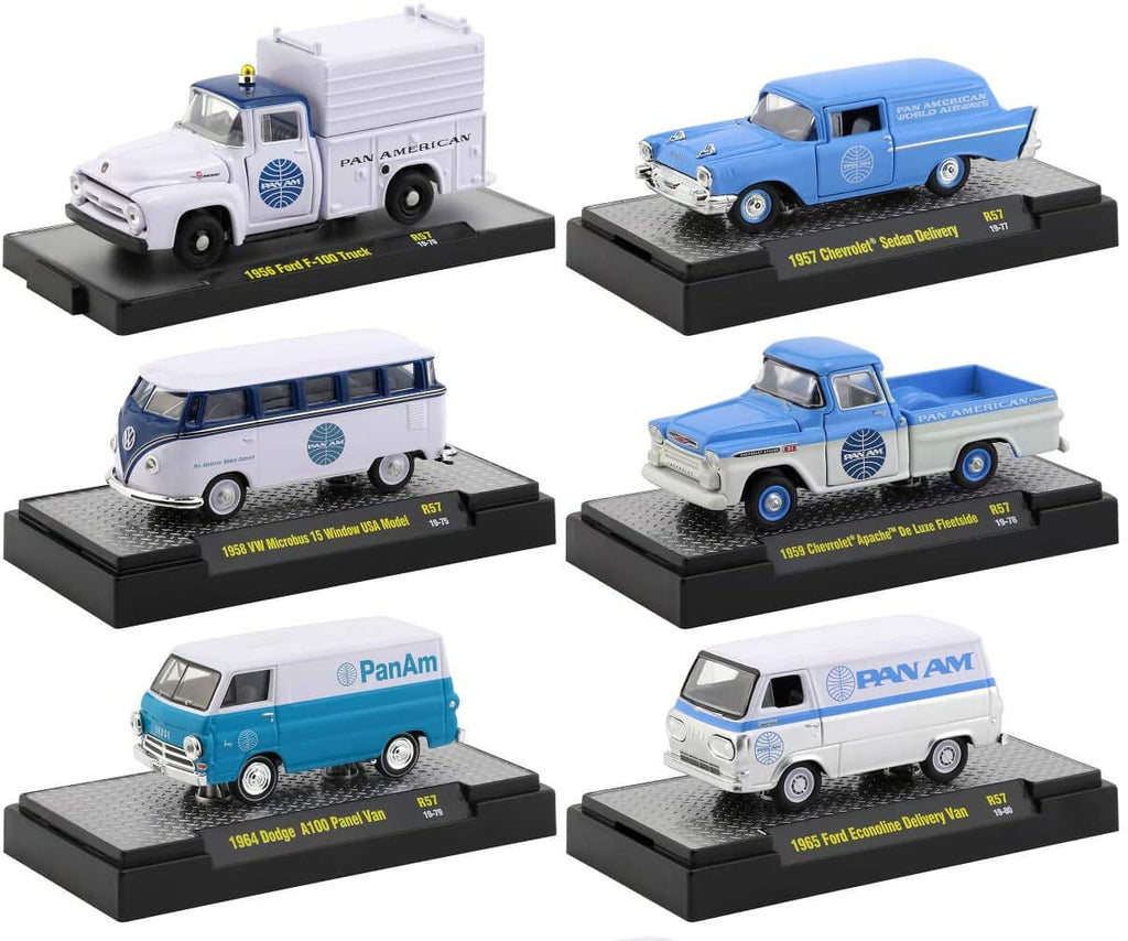 """Auto Trucks"" Release 57 ""Pan American World Airways"" (Pan Am) Set of 6 IN DISPLAY CASES 1:64 Diecast Model - M2 Machines - 32500-57"