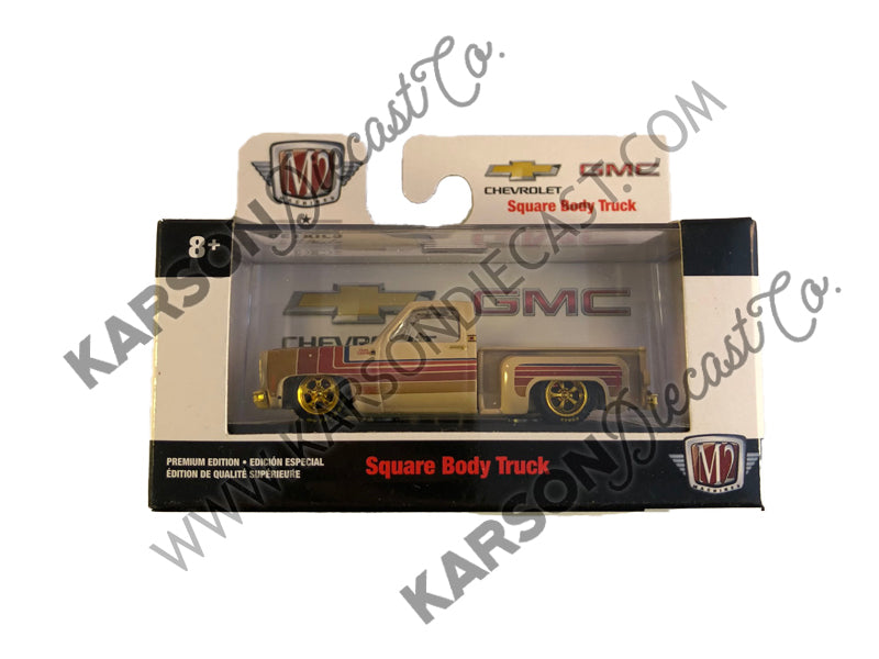 "CHASE ""Auto Trucks"" 1973 Chevrolet Cheyenne Super 10 Custom SS Square Body Pickup Truck Chamois Brown with Black Stripes Square Body Trucks Release 58 in Display Cases 1:64 Diecast Model - M2 Machines 32500-58"