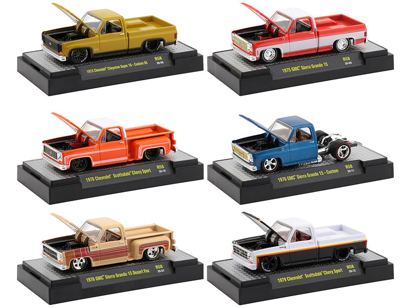 """Auto Trucks"" Set of 6 pieces Square Body Trucks Release 58 in Display Cases 1:64 Diecast Model - M2 Machines 32500-58"