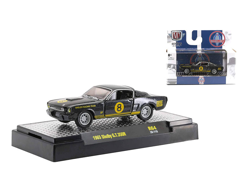 "1966 Ford Mustang Shelby G.T.350 #8 Black Metallic with Yellow Stripes ""Auto Thentics"" Release 64 Limited 1:64 Diecast Model - M2 Machines 32500-64"