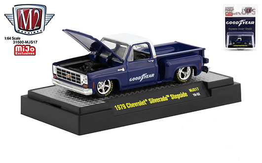 1979 Chevrolet Silverado Stepside Goodyear 1/64 Scale Diecast Model - M2 Machines - 32500-MJS17