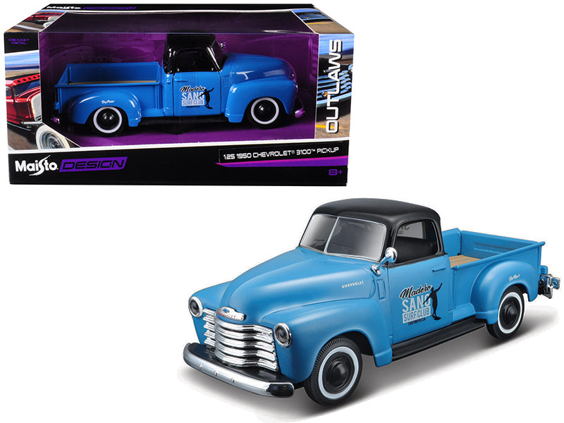 "1950 Chevrolet 3100 Pickup Truck Blue with Black Top ""Madero Sano Surf Club"" ""Outlaws"" 1:25 Diecast Model - Maisto - 32506BL"