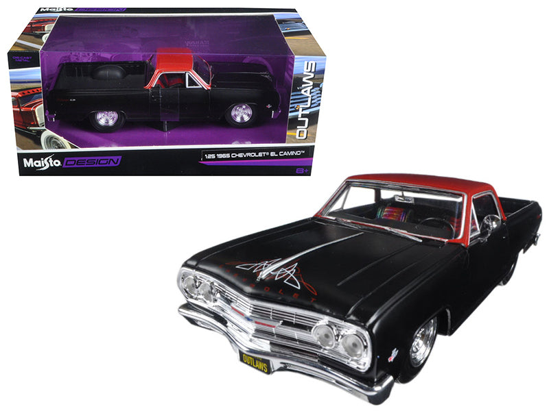 "1965 Chevrolet El Camino Matt Black ""Outlaws"" 1:25 Diecast Model Car - Maisto - 32517MTBK"