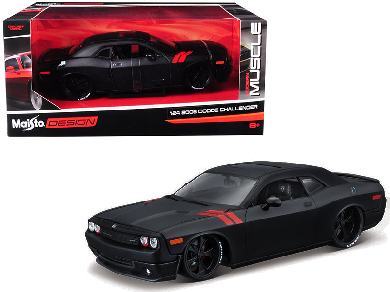 "2008 Dodge Challenger Matte Black ""Modern Muscle"" 1:24 Diecast Model Car - Maisto - 32529FTBK"