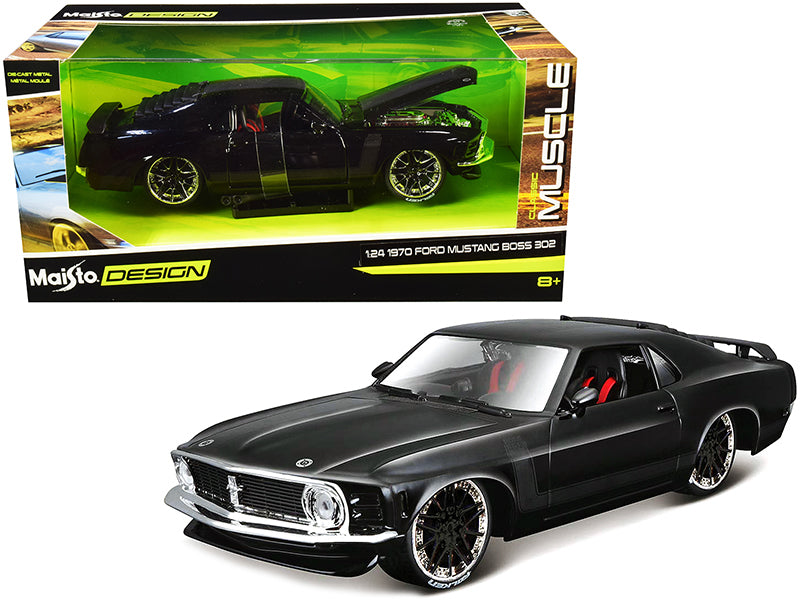 "1970 Ford Mustang Boss 302 Black with Matt Black Stripes ""Classic Muscle"" 1:24 Diecast Model Car - Maisto - 32535BK"