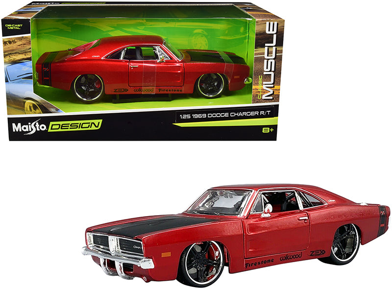 "1969 Dodge Charger R/T Red Metallic with Black Hood and Black Stripes ""Classic Muscle"" 1:25 Diecast Model Car - Maisto 32537RD"