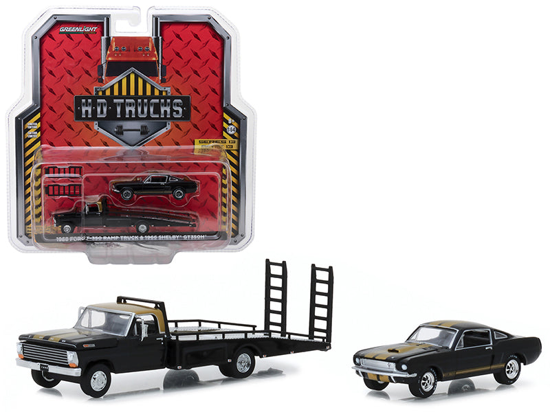 Ford F-350 Ramp Truck and Shelby GT350H Black 1:64 Diecast Models - Greenlight - 33130A