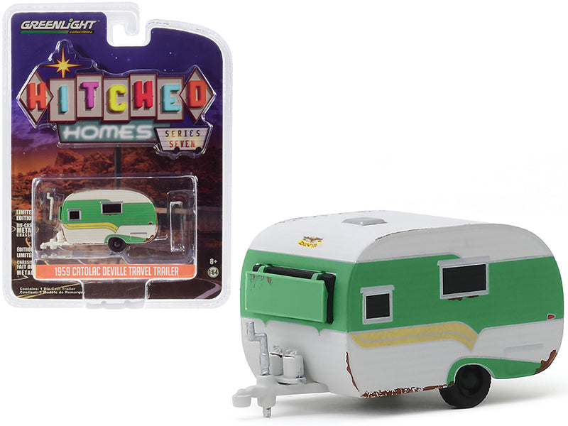 "1959 Catolac DeVille Travel Trailer Green and White (Unrestored) ""Hitched Homes"" Series 7 Diecast 1:64 Model - Greenlight - 34070A"