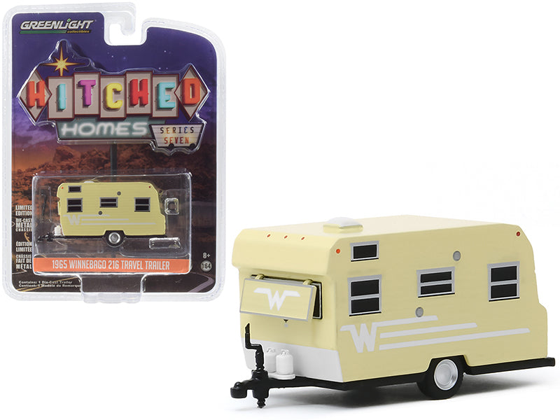 "1965 Winnebago 216 Travel Trailer Yellow with White Stripes ""Hitched Homes"" Series 7 Diecast 1:64 Model - Greenlight - 34070B"