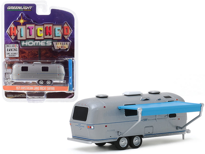 "1971 Airstream Land Yacht Safari Travel Trailer Silver Metallic with Awning ""Hitched Homes"" Series 7 Diecast 1:64 Model - Greenlight - 34070C"