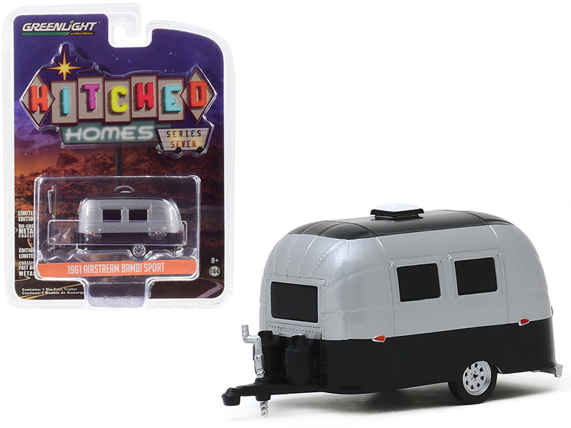 "1961 Airstream 16' Bambi Sport Travel Trailer Silver Metallic and Black ""Hitched Homes"" Series 7 Diecast 1:64 Model - Greenlight - 34070E"