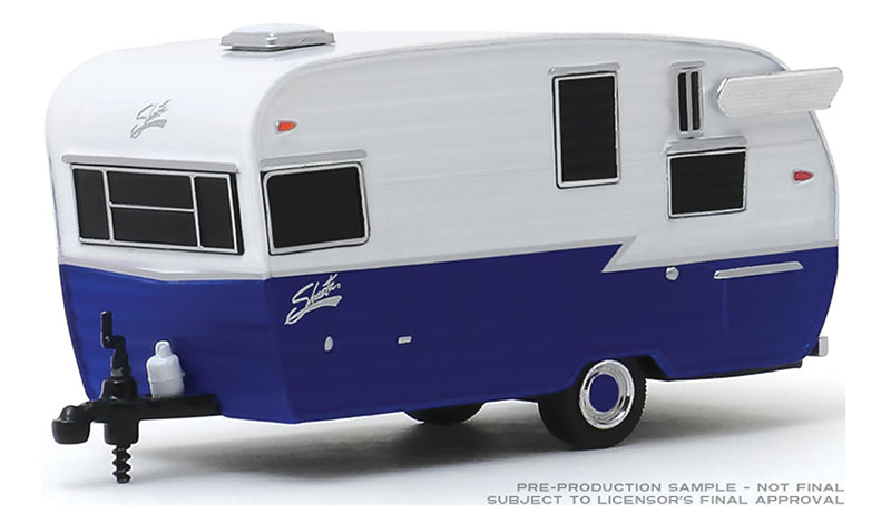 "1962 Shasta Airflyte Travel Trailer in White and Dark Blue ""Hitched Homes"" Series 7 Diecast 1:64 Model - Greenlight - 34070F"
