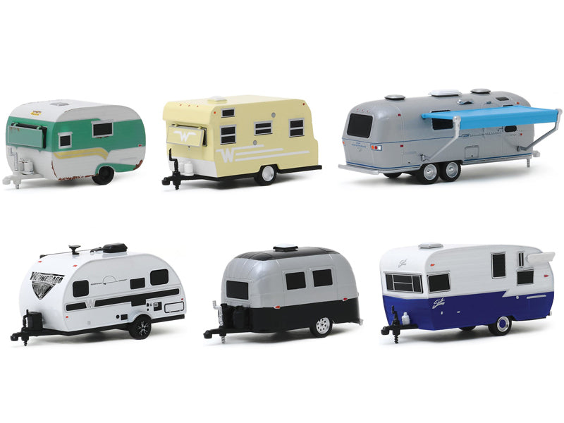 """Hitched Homes"" Series 7, 6 piece Travel Trailers Diecast Set 1:64 Models - Greenlight - 34070"