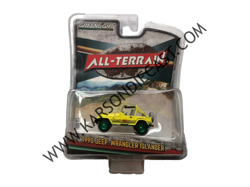 1990 Jeep Wrangler Islander Yellow All Terrain 1:64 Diecast Model - Greenlight - 35050C - CHASE GREEN MACHINE