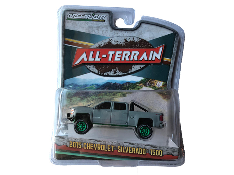 2015 Chevrolet Silverado 1500 Grey Pickup Truck All Terrain Series 4 - Greenlight - 35050 - CHASE GREEN MACHINE