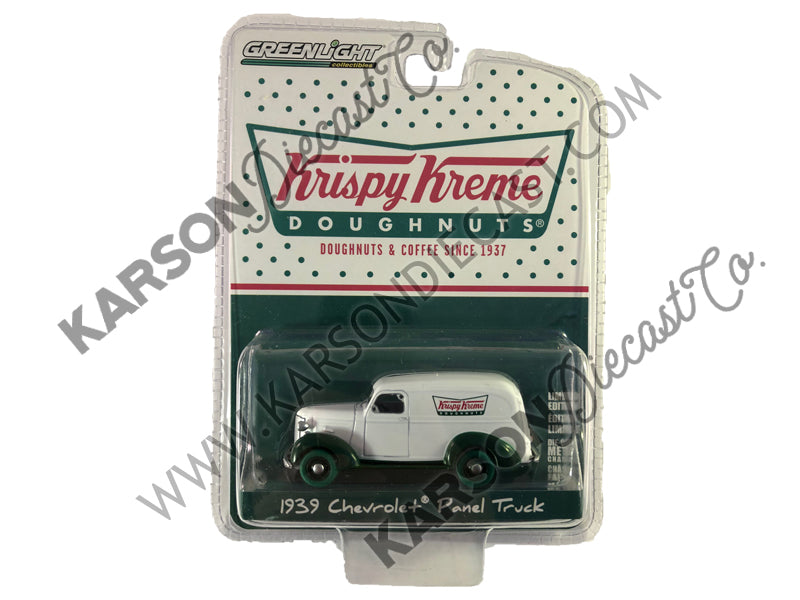 1939 Chevrolet Panel Truck Krispy Kreme Doughnuts Blue Collar Collection Series 3 1:64 Diecast Model Car - Greenlight - 35080B - CHASE GREEN MACHINE