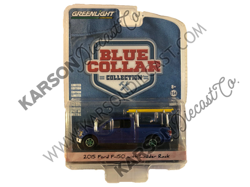 2015 Ford F-150 Pickup Truck w/ Ladder Rack, Blue 1:64 Scale Diecast Model - Greenlight - 35080E - CHASE GREEN MACHINE