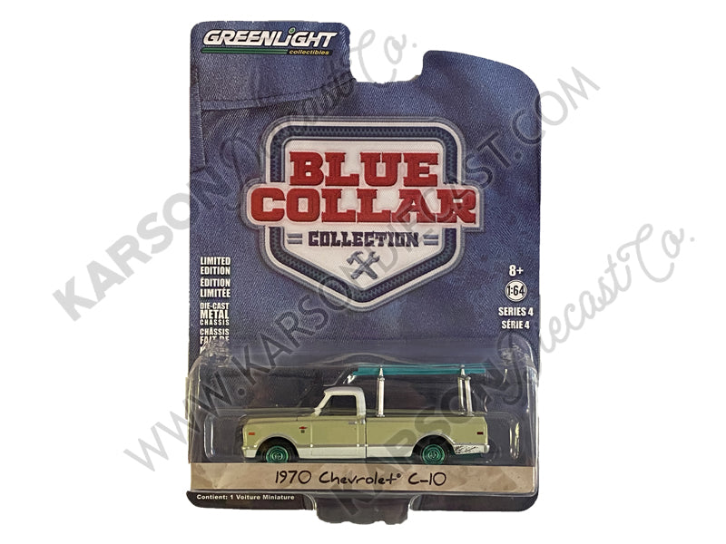 CHASE 1970 Chevrolet C-10 Cream with Ladder Rack Blue Collar Collection Series 4 1:64 Diecast Model Car - Greenlight - 35100B