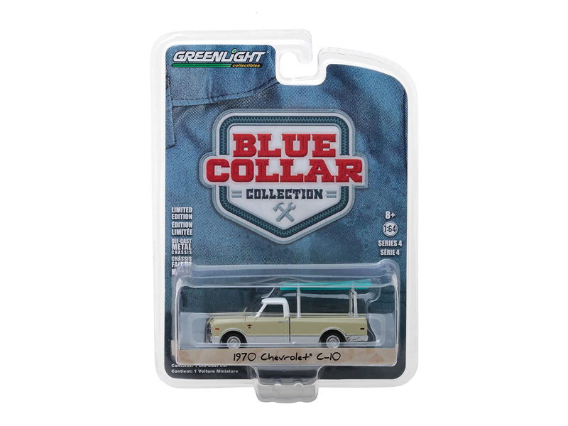 1970 Chevrolet C-10 Cream with Ladder Rack Blue Collar Collection Series 4 1:64 Diecast Model Car - Greenlight - 35100B