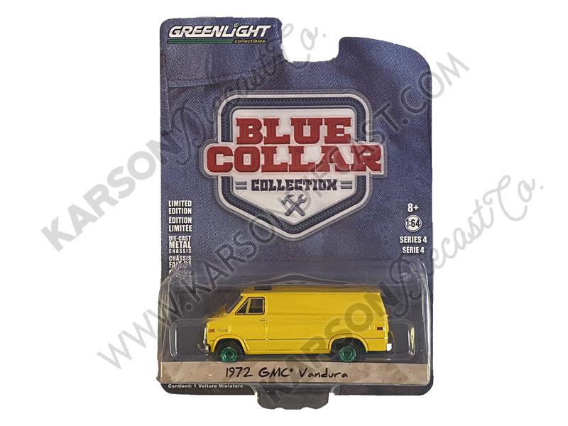 CHASE 1972 GMC Vandura Yellow Blue Collar Collection Series 4 1:64 Diecast Model Car - Greenlight - 35100C
