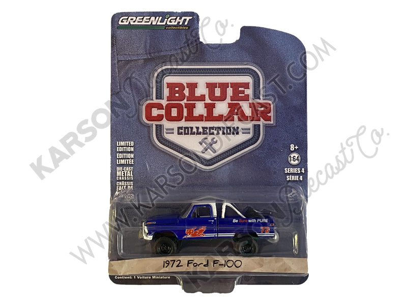 CHASE 1972 Ford F-100 Blue Pure Oil Co. Firebird Racing Gasoline Blue Collar Collection Series 4 1:64 Diecast Model Car - Greenlight - 35100D
