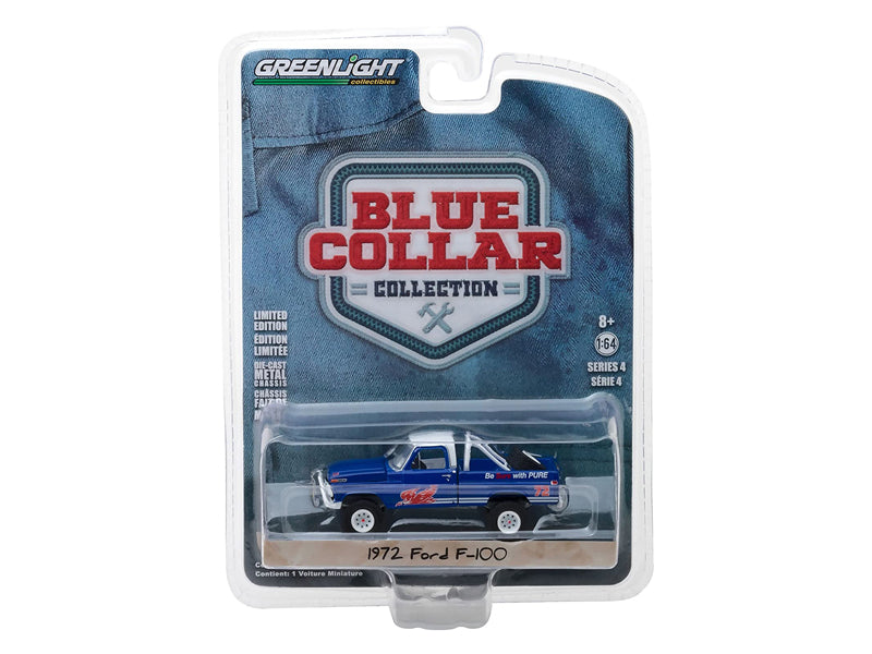 1972 Ford F-100 Blue Pure Oil Co. Firebird Racing Gasoline Blue Collar Collection Series 4 1:64 Diecast Model Car - Greenlight - 35100D