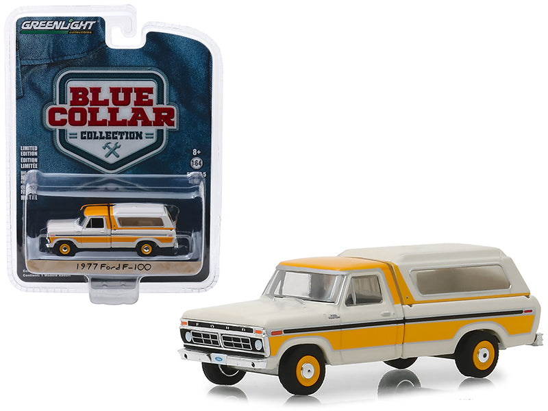 "1977 Ford F-100 Pickup Truck w/ Camper Shell Cream & Orange ""Blue Collar Collection"" Series 5 1:64 Diecast Model Car - Greenlight - 35120D"