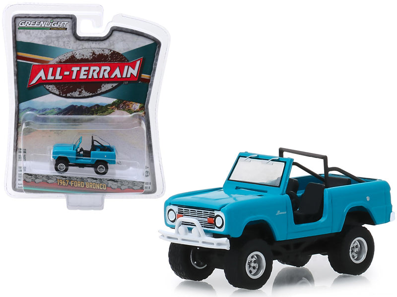 "1967 Ford Bronco (Doors Removed) Teal / Medium Blue-Green ""All Terrain"" Series 8 1:64 Diecast Model Car - Greenlight - 35130A"