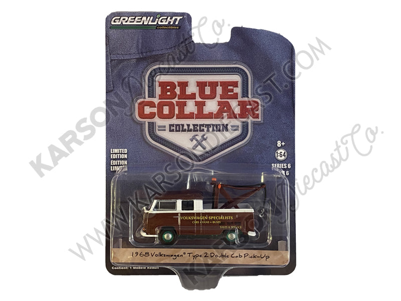"CHASE 1968 Volkswagen Type 2 Double Cab Tow Truck Doka with Drop in Tow Hook Metallic Burgundy ""Volkswagen Specialists"" ""Blue Collar Collection"" Series 6 1/64 Diecast Model Car - Greenlight - 35140A"