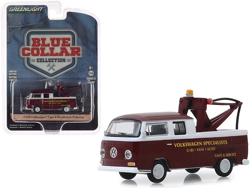 "1968 Volkswagen Type 2 Double Cab Tow Truck Doka with Drop in Tow Hook Metallic Burgundy ""Volkswagen Specialists"" ""Blue Collar Collection"" Series 6 1/64 Diecast Model Car - Greenlight - 35140A"