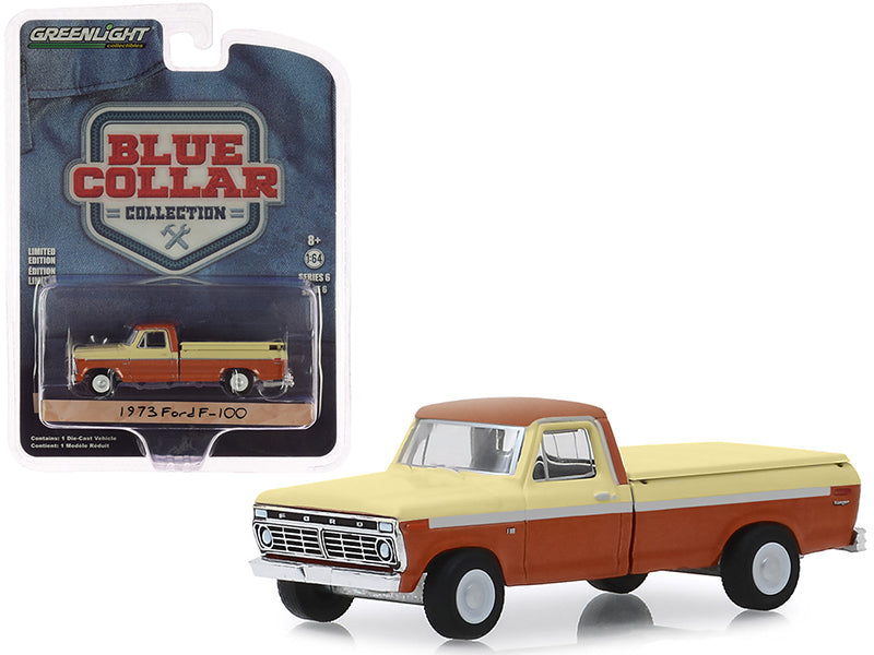"1973 Ford F-100 Pickup Truck with Bed Cover Metallic Orange & Cream ""Blue Collar Collection"" Series 6 1/64 Diecast Model Car - Greenlight - 35140B"