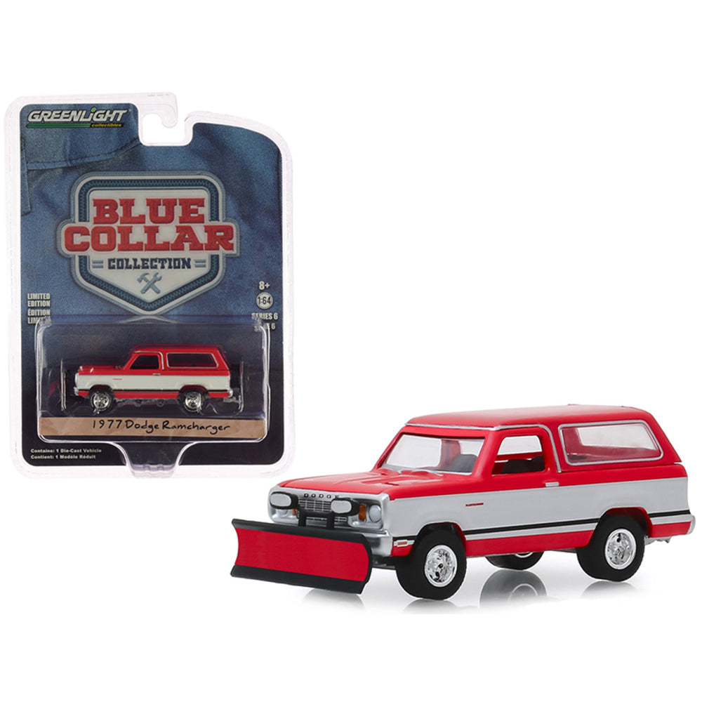 "1977 Dodge Ramcharger w/ Snow Plow ""Blue Collar Collection"" Series 6 1/64 Diecast Model Car - Greenlight - 35140C"