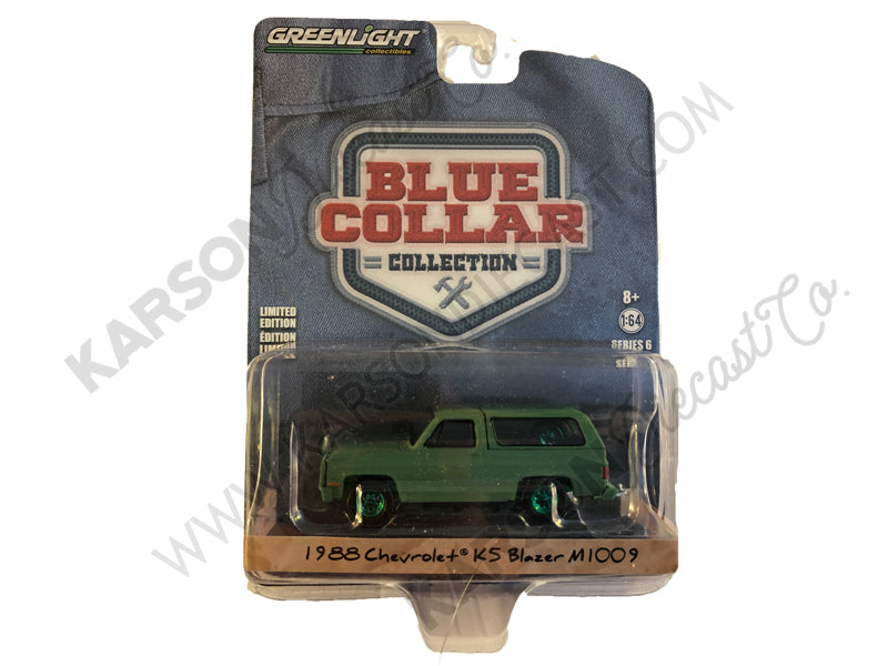 "1988 Chevrolet K5 Blazer M1009 Commercial Utility Cargo Vehicle (CUCV) Matt Green ""Blue Collar Collection"" Series 6 1/64 Diecast Model Car - Greenlight - 35140D - CHASE GREEN MACHINE"