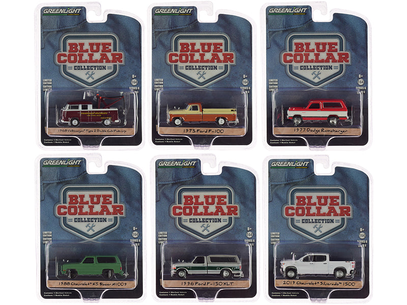"""Blue Collar Collection"" Series 6, 6 piece Set 1/64 Diecast Model Cars - Greenlight - 35140SET"