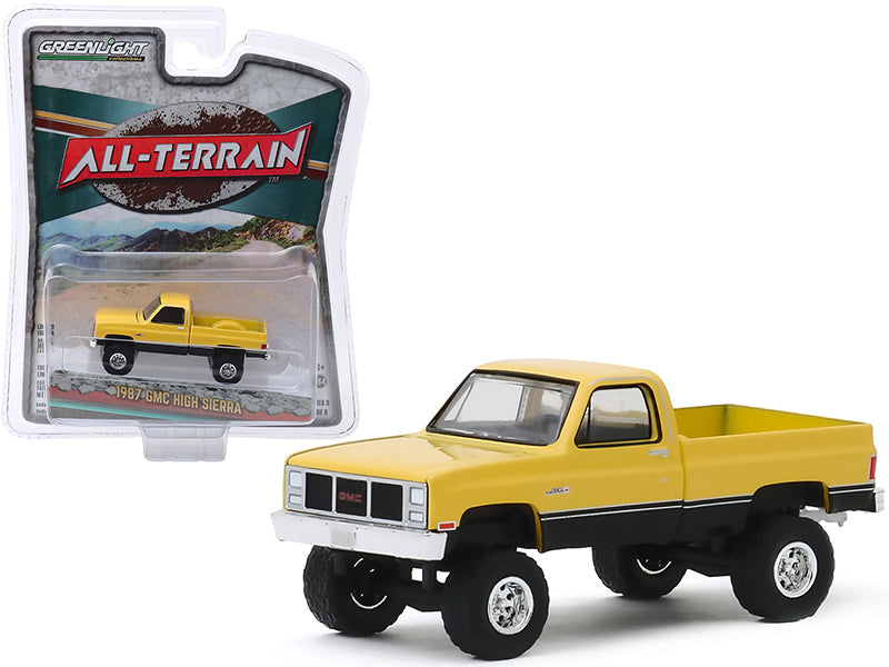 "1987 GMC High Sierra Pickup Truck Colonial Yellow and Black ""All Terrain"" Series 9 1/64 Diecast Model Car by Greenlight - 35150C"